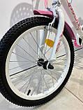 Двоколісний велосипед PROF1 Ballerina на 18 дюймів c кошиком рожевий, фото 7