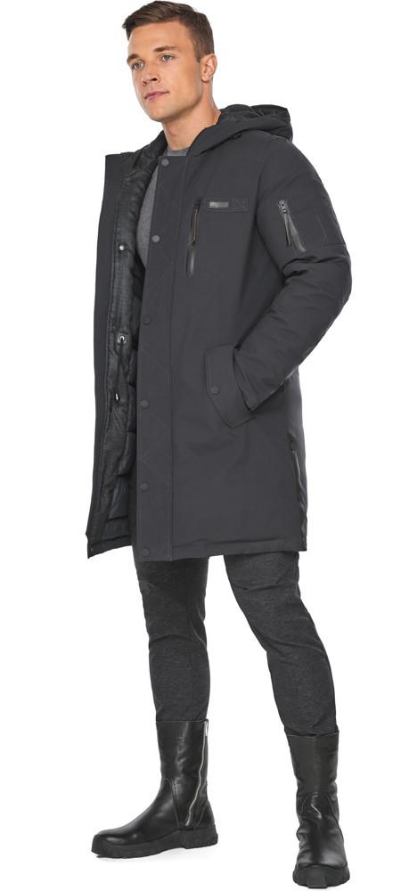 Куртка – воздуховик цвета графита мужской зимний модель 38012