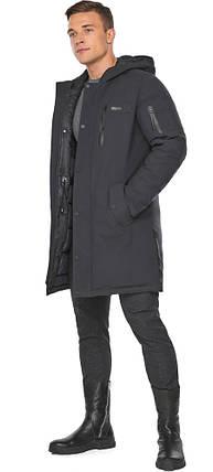 Куртка – воздуховик цвета графита мужской зимний модель 38012, фото 2