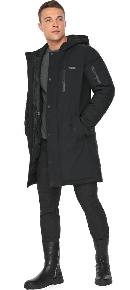 Куртка – воздуховик зимний чёрный мужской модель 38012