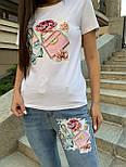 Укороченныйе джинсы и футболка белая с апликацией летний костюм женский (р. S-XL) 79101792, фото 3