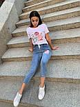 Укороченныйе джинси і біла футболка з аплікацій літній костюм жіночий (р. S-XL) 79101792, фото 4