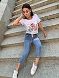 Укороченныйе джинси і біла футболка з аплікацій літній костюм жіночий (р. S-XL) 79101792, фото 2