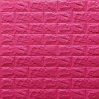 Декоративна 3D панель самоклейка під цегла Темно-рожевий 700х770х7мм Os-BG06