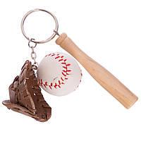 Брелок бейсбольний М'яч, біта, пастка FB-2412 (метал, пластик, PVC, 1уп.-12шт., ціна за 1 шт.)