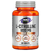 L-Цитруллин, L-Citrulline, Now Foods, 1200 мг, 120 таблеток