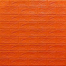 Декоративная 3D панель стеновая самоклеющаяся под кирпич ОРАНЖЕВЫЙ 700х770х5мм (в упаковке 10 шт)