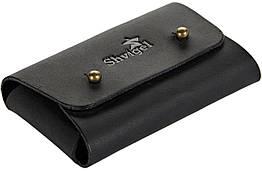 Визитница SHVIGEL 16159 из натуральной винтажной кожи Черная, Черный, КОД: 225635