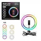 Кільцева лампа RGB 20 см світлове кільце для селфи лампа веселка для селфи різнобарвна лампа без штатива, фото 2