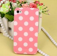 Силиконовый чехол розовый в белые точки для Iphone 4/4S