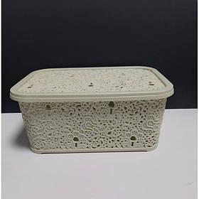 Корзина для хранения бытовых вещей Elif Plastik Ажур 6 л Бежевый