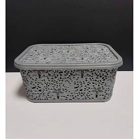 Корзина для хранения бытовых вещей Elif Plastik Ажур 6 л Металлик
