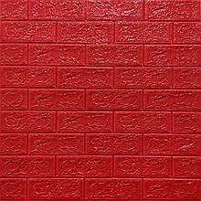 Декоративная 3D панель стеновая самоклеющаяся под кирпич КРАСНЫЙ 700х770х5мм (в упаковке 10 шт)