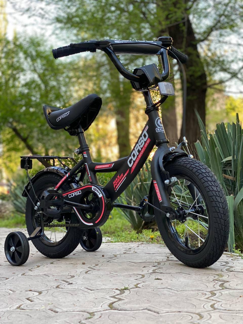 """Велосипед 12 дюймів двоколісний """"CORSO"""" CL-12854 Чорно-червоний, Дитячий двоколісний велосипед"""