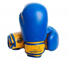 Боксерські рукавиці PowerPlay 3004 JR Синьо-Жовті 6 унцій SKL24-143707
