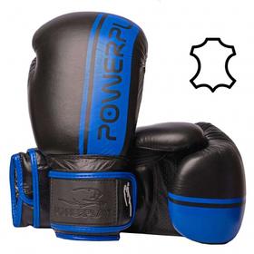 Боксерські рукавиці PowerPlay 3022 Чорно-Сині, натуральна шкіра 10 унцій SKL24-143760