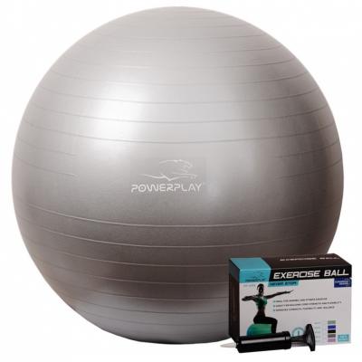 Мяч PowerPlay для фитнеса 4001 75см Серебристый, насос SKL24-143904