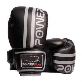 Боксерські рукавиці PowerPlay 3010 Чорно-Сірі 12 унцій SKL24-144003