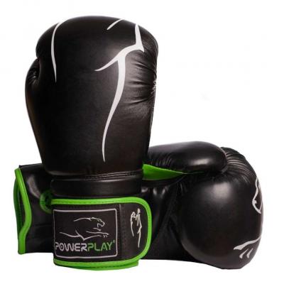 Боксерські рукавиці PowerPlay 3018 Чорно-Зелені 12 унцій SKL24-144030