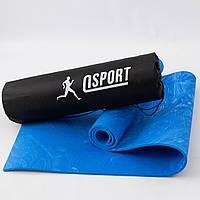 Коврик для йоги и фитнеса + чехол (мат, каремат спортивный) OSPORT Yoga ECO Pro 8мм (n-0013) Синий