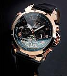 Jaragar Чоловічі класичні механічні годинники Jaragar Turboulion 1007 з автопідзаводом і датою, фото 9