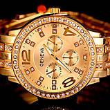 Geneva Женские классические кварцевые часы Geneva Gold, фото 3