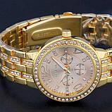 Geneva Женские классические кварцевые часы Geneva Gold, фото 4