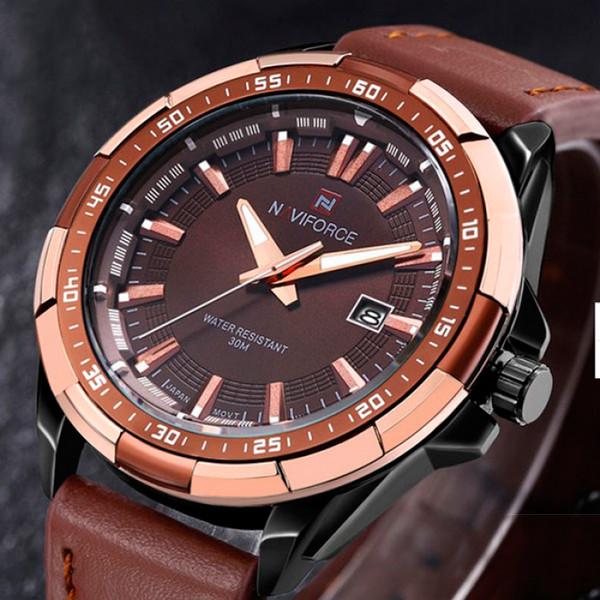 Naviforce Чоловічі класичні кварцові годинники Naviforce Advanter Brown 1064