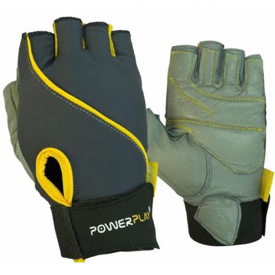Рукавички для фітнесу PowerPlay 1725 B Сіро-Жовті XS SKL24-144255