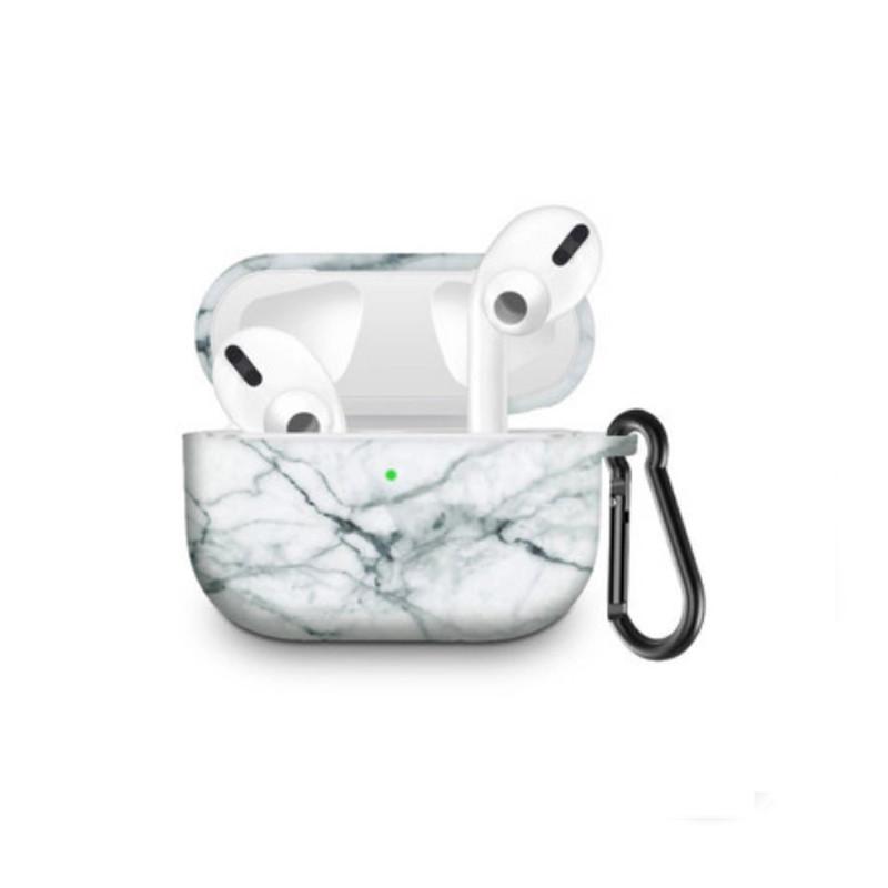 Силіконовий чохол з карабіном для навушників Apple Airpods Pro Білий мармур