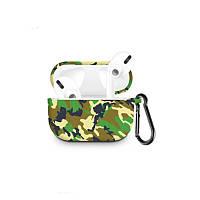 Силиконовый чехол с карабином для наушников Apple Airpods Pro Камуфляж джунглей