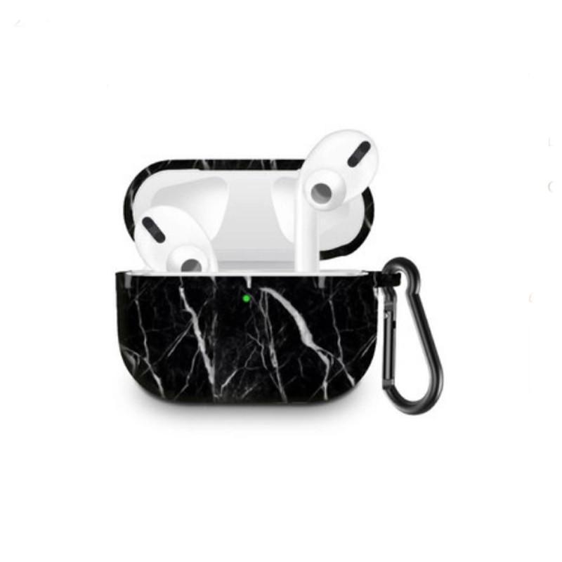 Силиконовый чехол с карабином для наушников Apple Airpods Pro Мраморный черный