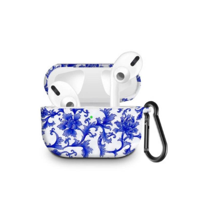 Силиконовый чехол с карабином для наушников Apple Airpods Pro Синий и белый фарфор