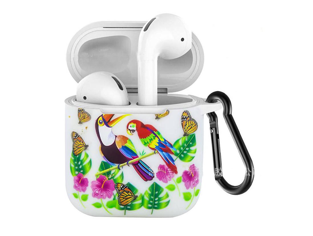 Силиконовый чехол с карабином для наушников Apple airpods Белый папугай