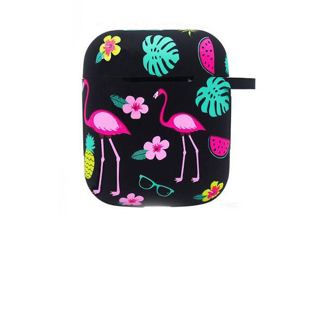 Силиконовый чехол с карабином для наушников Apple airpods Фламинго