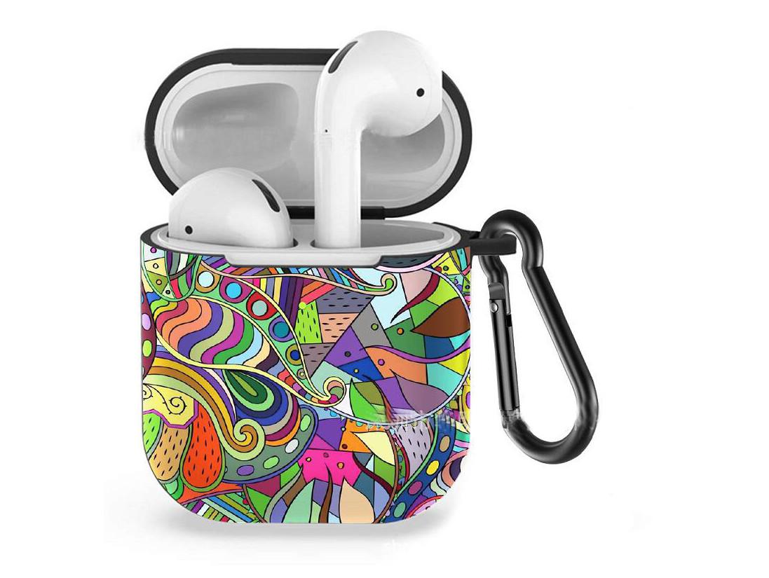 Силиконовый чехол с карабином для наушников Apple airpods Цветной узор