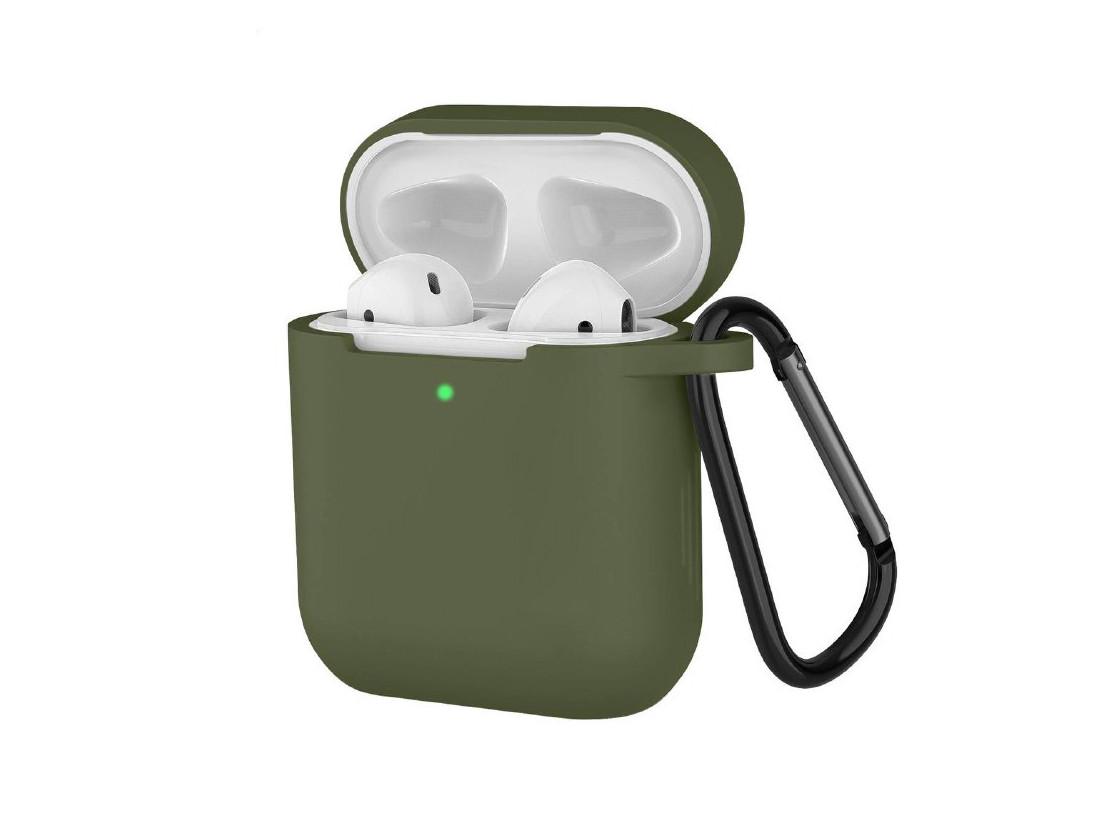 Чехол с карабином для наушников Apple airpods, силиконовый Армейский зеленый