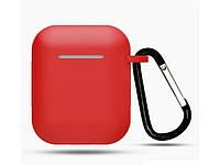 Чехол с карабином для наушников Apple airpods, силиконовый Красный
