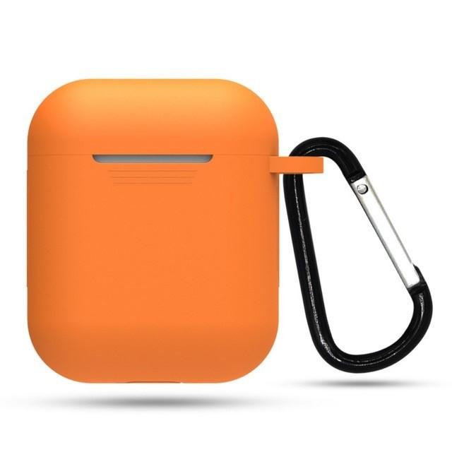 Чехол с карабином для наушников Apple airpods, силиконовый Оранжевый