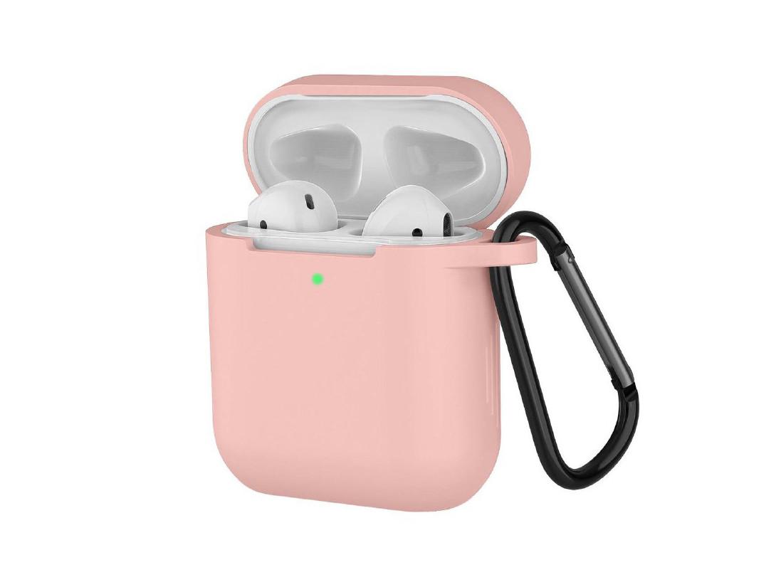 Чехол с карабином для наушников Apple airpods, силиконовый Светло-розовый