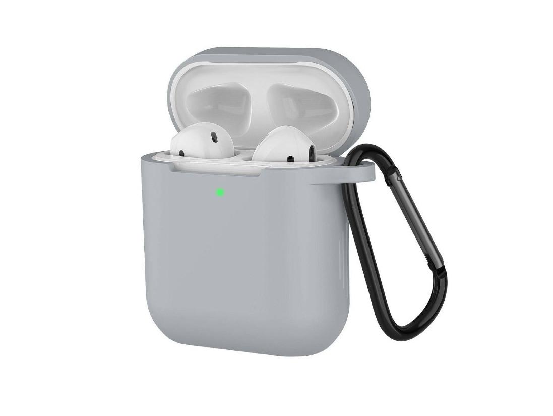 Чохол з карабіном для навушників Apple airpods, силіконовий Сірий