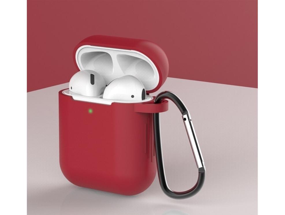 Чохол з карабіном для навушників Apple airpods, силіконовий Темно-червоний