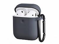 Чехол с карабином для наушников Apple airpods, силиконовый Темно-серый