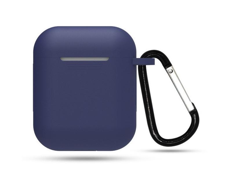 Чохол з карабіном для навушників Apple airpods, силіконовий Темно-синій