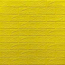 Декоративная 3D панель стеновая самоклеющаяся под кирпич ЖЕЛТЫЙ 700х770х5мм (в упаковке 10 шт)