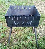 Мангал чемодан на 6 шампуров 2 мм, СЕВ