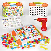 Конструктор мозаика шуруповерт 119 деталей в чемодане 83336. Развивающая игрушка, фото 1