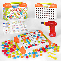 Конструктор мозаїка шуруповерт 119 деталей у валізі 83336. Розвиваюча іграшка, фото 1
