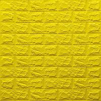 Декоративна 3D панель самоклейка під цеглу Жовтий 700х770х7мм Os-BG10