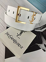 Белый кожаный женский ремень YSL Ив Сен Лоран
